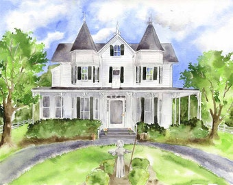 Watercolor House Painting - Original Commissioned Painting - Custom Home Watercolor - House Artwork