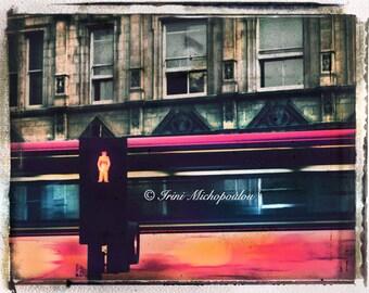 Original Signed Fine Art Photograph,print,London,cityscapes,sun light,street,red,bus,lights,Europe,red bus.home decor