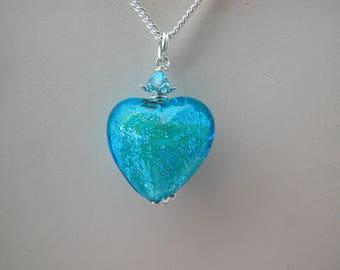 Blue Heart Necklace, Murano Glass Necklace. Murano Exclusive