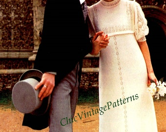 Knitted Wedding Dress ... Vintage Dress with Lace Knit Detail ... PDF Knitting Pattern ...  Pretty Bridal Gown