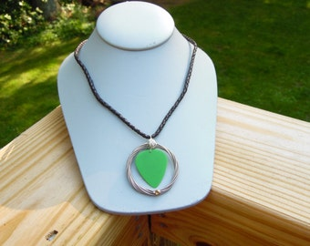 Green Guitar Pick Necklace