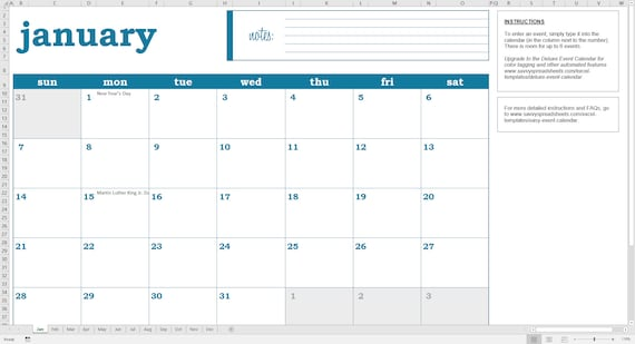 Easy Event Calendar  Printable Excel Calendar Template