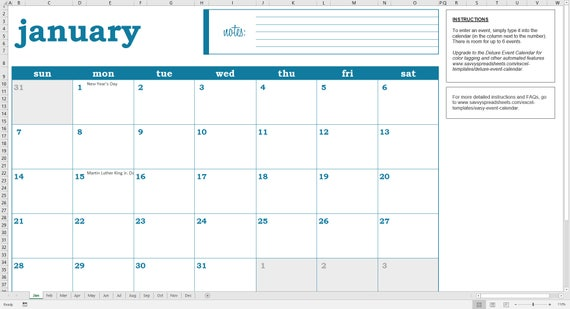 Easy Event Calendar  Printable Excel Calendar Template