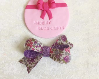 Purple glitter floral Sophia bow