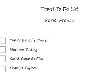 Paris Travel To Do List Printable