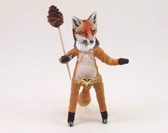 Spun Cotton Vintage Inspired Fox Man Figure/Ornament (MADE TO ORDER)