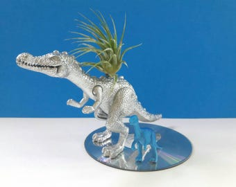 Upcycled Dinosaur Air Planter With CD Base, Air Plant, Recycled, Repurposed, Dinoplanter, Dinosaur Decor, Made By Mod.