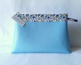 Toiletry bag in sky blue vegan leather and Liberty boho Maxi