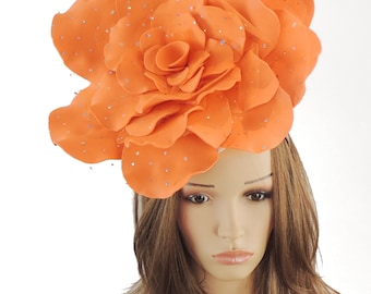 Stunning Orange Parisa Large Rose Fascinator Hatinator Hat for Kentucky Derby & Ascot, Special Events With Headband