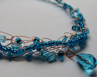 Aqua Copper Wire Crochet Necklace and Earring Set