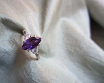 Natural Marquise Amethyst Accented Ring