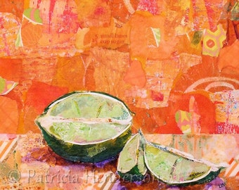 """LIME TIME Original Paper Collage Painting 6 X 6"""" on Gallery Wrapped Canvas"""