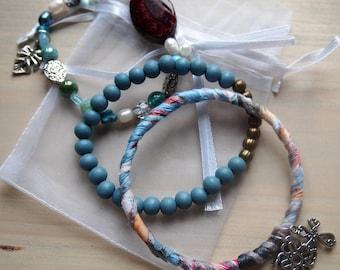 Bracelets, Set Bracelets, Boho Bracelets, Indian Rosy Bracelets, Jewelry, Artistic Jewelry, Handmade Bracelets, Handmade, OOAK, Blue