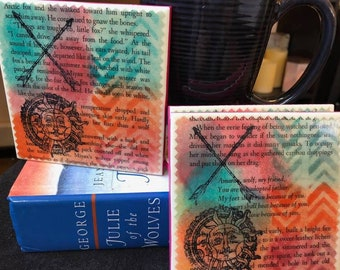 The Pack    Julie of the Wolves Upcycled Book Page Coasters
