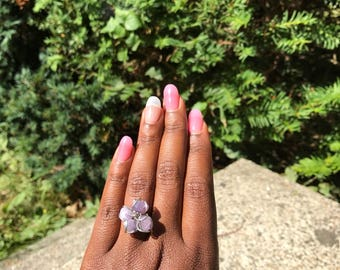 Silver wire Light purple cluster statement ring