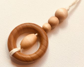 Natural Wood Teething & Nursing Necklace (Rey)