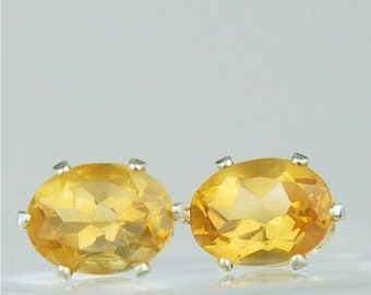 Memorial Day Sale Citrine Stud Earrings Sterling Silver 8x6mm Oval 2.15ctw