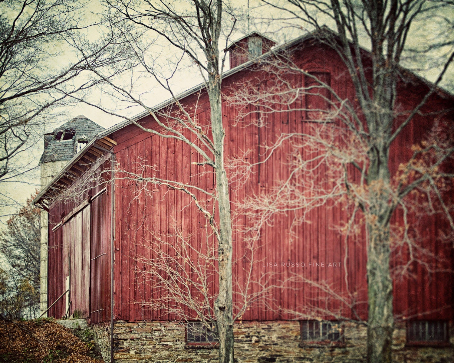 Red Barn Print Or Canvas Art Rustic Home Decor Country