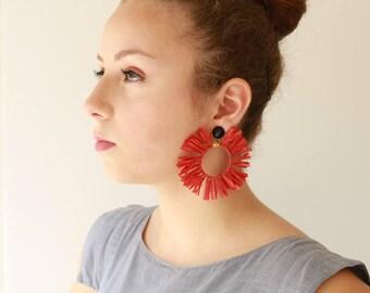 Rote Ohrringe, Trendy hoop leicht, Statement Ohrringe, Kreis Quaste natürliche Schmuck Hippie sonneohrringe für ihren Naama brosh