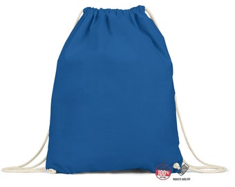 Gym bag blue Drawstring backpack Gymbag Cotton Gymsack