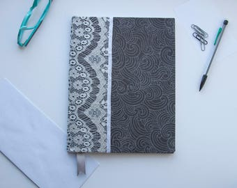 """Grey Waved Fabric with White Lace 7.5""""x10"""" Notebook Journal 70 LINED pages"""
