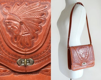 Vintage 60's Hand Tooled Mexican Mayan Cognac Brown Leather Shoulder Bag Purse / Hippie Bohemian Festival