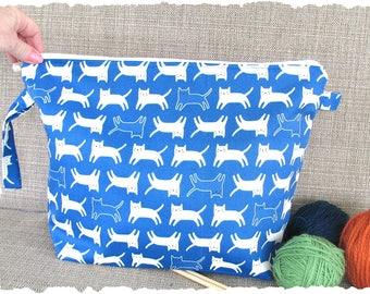 Knitting bag, Zipper knitting project bag, Cats crochet project bag, Knitter's gift for cat lover, Christmas gift for knitter