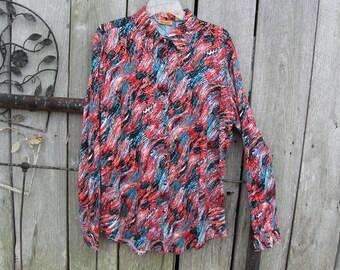 Wrangler Polyester Multi-Colored Tops  Blouses for Women shirt   size  XL     Wrangler long sleeve blouse. Bright pattern with bling.