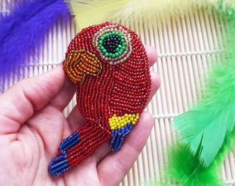 Fairytale Gift Parrot Ara Bird Embroidered Brooch Holiday Gift For Her Beauty Guru Wanderluster Everyday Accessories, Statement Pin