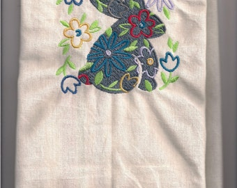 NEW Tea Towel embroidered with Easter Rabbit
