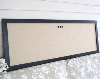 "Extra Long Solid Wood Burlap Magnetic Bulletin Board - 17.5 x 50"" Black Frame Long Magnetic Organizer - Narrow Magnet Board Fabric Modern"