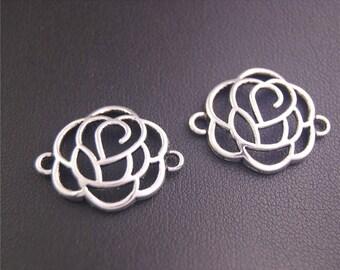 30pcs Antique Silver Rose Charms Pendant A2147