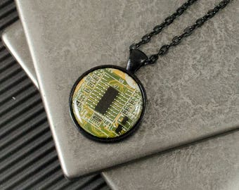 Circuit Board Necklace Yellow and Black, Upcycled Computer Jewelry, Motherboard Necklace for Men, Masculine Necklace, Wearable Technology