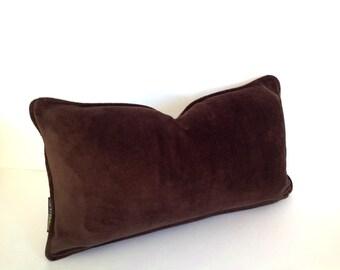 Chocolate Brown Velvet Lumbar Throw Pillow Cover, Brown Cushion, Free Shipping
