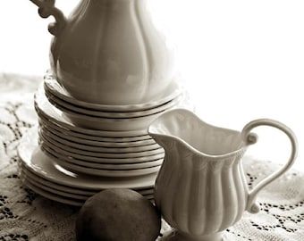 Fine Art Photography White China Sepia Photo Archival Print Home Decor Traditional Kitchen Decor