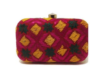 Multicolor Pulkarai Fabric Clutch