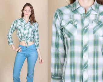 Wrangler Pearl Snap Top - Extra Small   Vintage Plaid Western Shirt