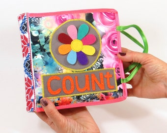 Textile 6 pages Counting Education Learn To Count Book Baby  Fabric Silent Numbers Counting Felt Math Flower Preschool Development Soft Book