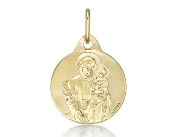 Medal pendant St Joseph 15 mm, solid yellow gold 18 k 750/1000. Gift box included new