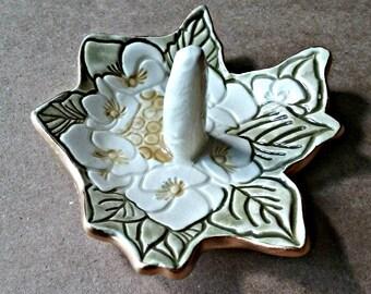 Ceramic Wedding Engagement Ring Holder Off White flowers edged in gold