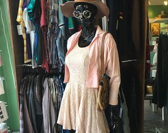 Vintage 90s LA BELLE sheer lace Skater dress // size large // made in USA
