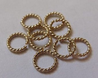 10 x 20g Twisted Gold Filled Open Jump Rings (0.8mm)