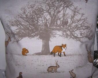 Wildlife cushion, stag cushion, fox cushion, tree cushion, autumn cushion, pheasant cushion, hare cushion, gift for her, Christmas gift