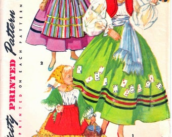 Simplicity 4861 Child Gypsy Costume, Spanish Girl Costume, Peasant Costume, Dress Up Costume Sewing Pattern Size Small  Vintage 1950s