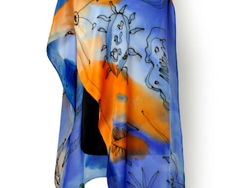 Blue and orange silk scarf/Hand painted long scarf/Woman beautiful accessory/Hand painted scarf/Painting luxury silk/Royal blue long scarf