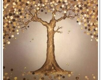 Golden Shimmering Tree. Original painting on canvas. 60cm x 60cm. Gift, birthday, Christmas.