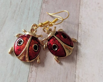 Ladybird earrings, ladybug earrings, ladybird jewelry, insect earrings, insect jewelry, gold earrings, summer earrings, summer jewelry