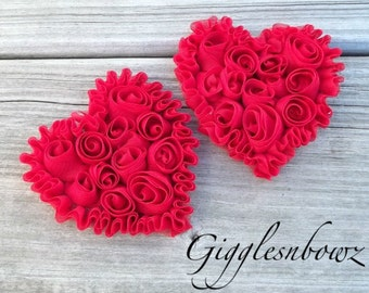 NeW SMaLLeR SiZE- Set of 2 Beautiful Shabby Chic Chiffon HEART Appliques- RED  3 inch