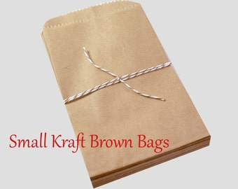 100 SMALL Kraft brown paper bags 3 1/2 x 5 3/4 inch - Packaging, Wedding Favors, Merchandise Bags, Gift Wrapping   Bridal Shower   Birthday