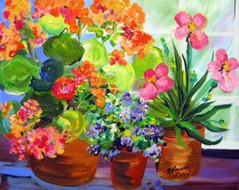 Geranium Original painting 16 x 20  canvas art Fine art by Elaine Cory